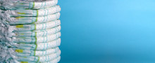 Stack Of Diapers. Banner. Blue...