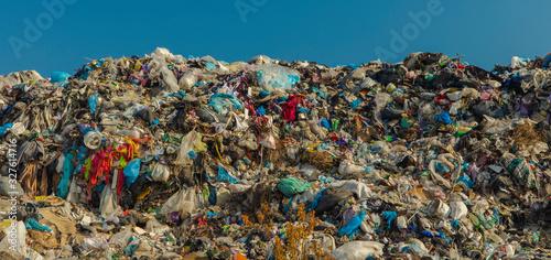 Obraz na plátně awful human activity dump garbage huge mountain outskirts space panoramic photog