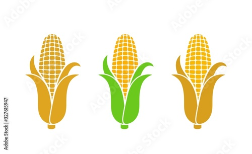 Fotografie, Obraz Corn logo. Isolated corn on white background