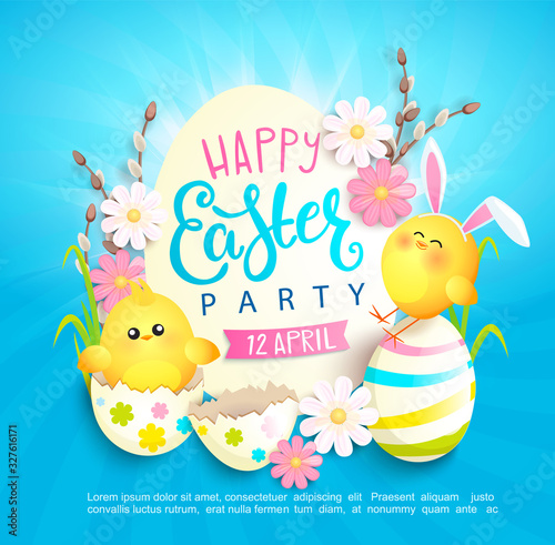 Valokuva Happy easter party invitation card with beautiful camomiles, painted eggs and chickens with rabbits ears