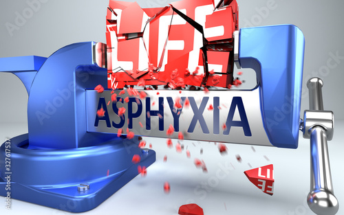 Photo Asphyxia can ruin and destruct life - symbolized by word Asphyxia and a vice to