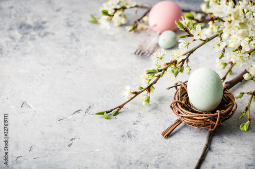 Easter composition on grey concrete backgrount Wallpaper Mural