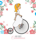 My First Communion Card. Girl Riding Vintage Bicycle. Flower Background And Space For Text