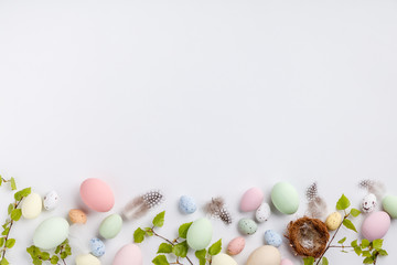 Easter composition on white backgrount