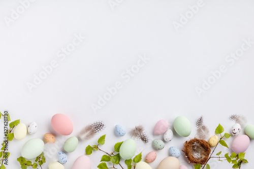 Easter composition on white backgrount Canvas Print