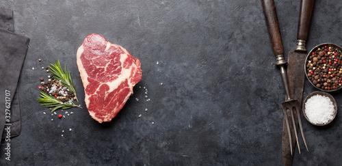 Fototapeta Ribeye fresh raw beef steak obraz
