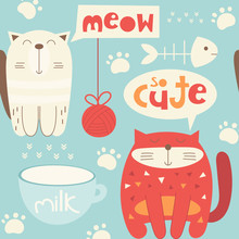 Funny Cats Seamless Pattern Wi...