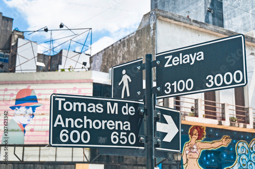 Photo Sign at the corner of Zelaya street at Abasto tango  neighborhood in Buenos Aire
