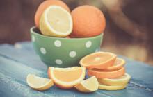 Orange And Lemon Slices On Woo...