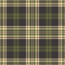 Green Brown Plaid Pattern Seamless Vector Background. Tartan Check Plaid In Dark Brown And Olive Green For Flannel Shirt Or Other Modern Fashion Clothing Design.