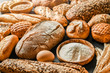 Fresh fragrant breads on the table. Bakery food concept panorama or wide banner photo.