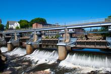 Woonsocket Falls Dam On Blackstone River In Downtown Woonsocket, Rhode Island RI, USA.