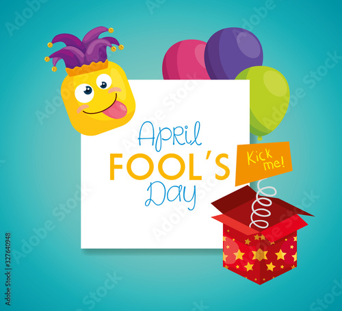 Fotografija april fools day with hat buffoon and decoration vector illustration design