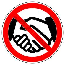 Srr563 SignRoundRed - German - Hände Schütteln Verboten. English - Prohibition Sign - Handshaking Is Forbidden / No Handshake / Hand Shake - Red G9153