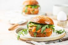 Burger Sandwich With Salmon, C...