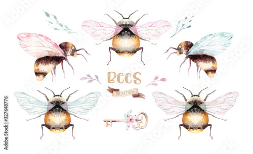 Set of watercolor bright bees Tableau sur Toile