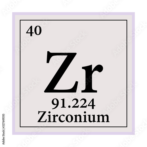 Zirconium Periodic Table of the Elements Vector illustration eps 10 Tapéta, Fotótapéta
