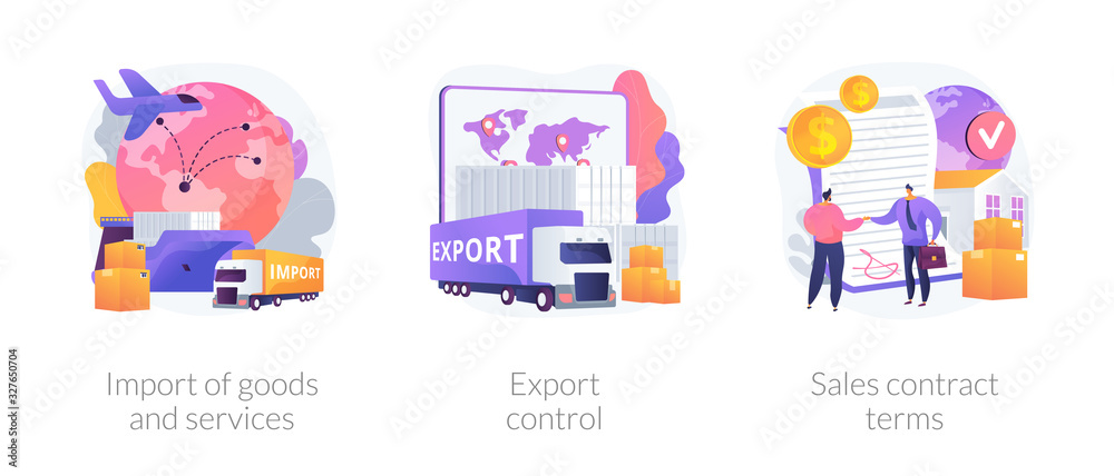 Fototapeta Global trade, distribution and logistics metaphors. Goods and services import, export control, sales contract terms. Maritime, air and land shipment abstract concept vector illustration set.