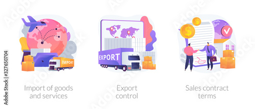 Fototapeta Global trade, distribution and logistics metaphors. Goods and services import, export control, sales contract terms. Maritime, air and land shipment abstract concept vector illustration set. obraz