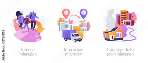 International and interurban human migration metaphors. Changing living location, legal immigration, countryside to town migration. Settling place abstract concept vector illustration set.