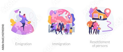 Fototapeta Population mobility, human migration metaphors