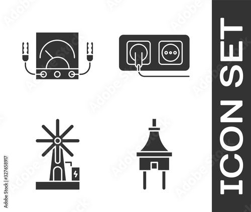 Set Electric plug, Ampere meter, multimeter, voltmeter, Wind turbine and Electrical outlet icon Canvas Print