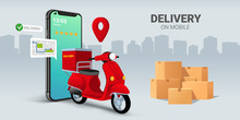 Fast Delivery By Scooter On Mobile Smartphone. E-commerce Concept. Online Food Order Infographic. Webpage, App Design. City Background. Perspective Vector