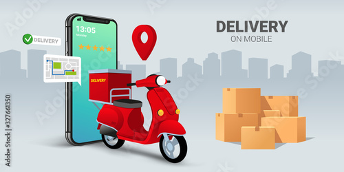 Fast delivery by scooter on mobile smartphone Canvas Print