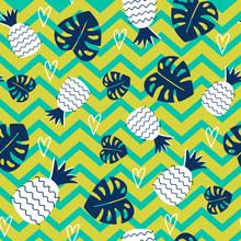 Seamless Pineapple Pattern. Tr...