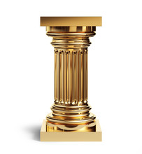 Golden Classic Column Isolated On A White Background With Clipping Path.
