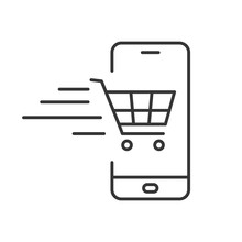 Phone Icon With Shopping Cart. Vector Illustration