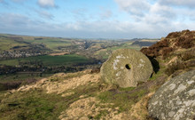 Old Abandoned Millstone In The Derbyshire Peak District