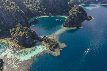 Aerial view of the Twin Lagoon in coron island, Palawan, Philippines