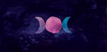 Occult Symbol Triple Moon Isolated On Dark Background. Magic Vector Decorative Elements