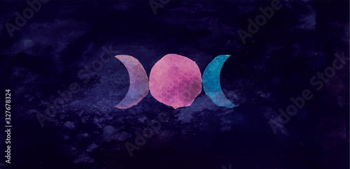 Obraz na plátně Occult symbol triple moon isolated on dark background