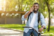 Smiling Black Guy Talking On C...
