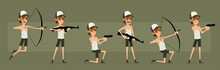 Cartoon Funny Cute Hipster Farmer Boy Character In Shorts And Glasses. Ready For Animations. Smiling Farmer Shooting With Pistol, Rifle, Bow. Isolated On Green Background. Big Vector Icon Set.