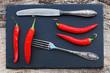 Rote Chilis und altes Silberbesteck auf einer schwarzen Schiefertafel