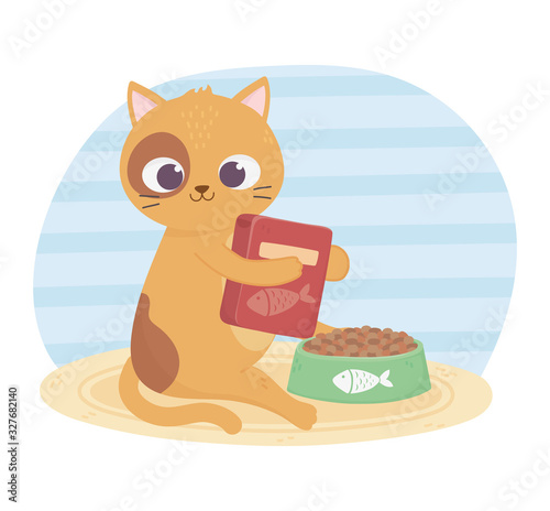 cats make me happy, cute cat with food box and bowl Fototapet