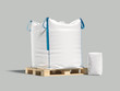 canvas print picture - White big bag or sack on pallet. Isolated object on light background. Mockup for design. 3d render
