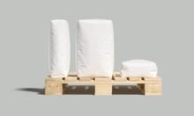 White Bag Or Sack On Pallet. Isolated Objects On Light Background. Mockup For Design. 3d Render