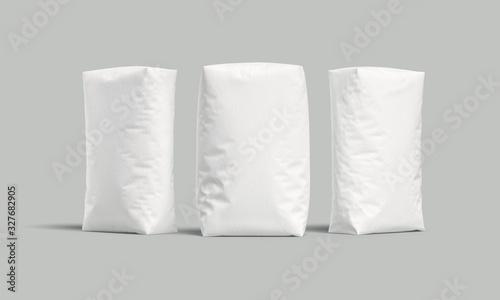 Fototapeta White bags or sacks isolated on light background. Mockup for design. 3d render obraz