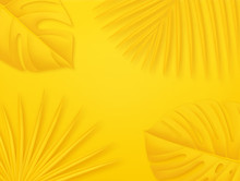 Colorful Summer Background With Copy Space. Bright Yellow 3d Illustration With Tropical Palm Leaves.