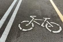 Yellow And White Asphalt Bike Path