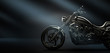 Classic black motorcycle on a dark background, side view (3D illustration)