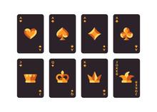 Black And Gold Playing Cards Set. Poker Flat Illustration