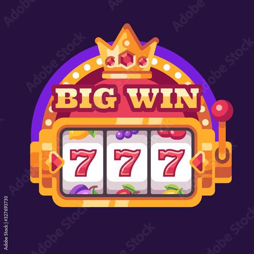 Fotografia 777 slot machine Big win. Casino flat illustration