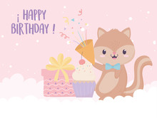 Happy Birthday Squirrel Gift Cupcake And Confetti Celebration Decoration Card