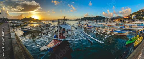 Paraw boat in Coron island in Palawan, Philippines Obraz na płótnie