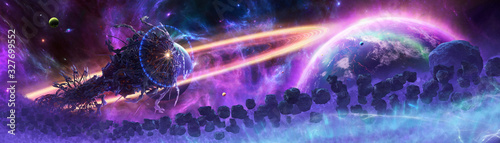 Photo Artistic 3d rendering illustration of an alien spaceship in an asteroids scene